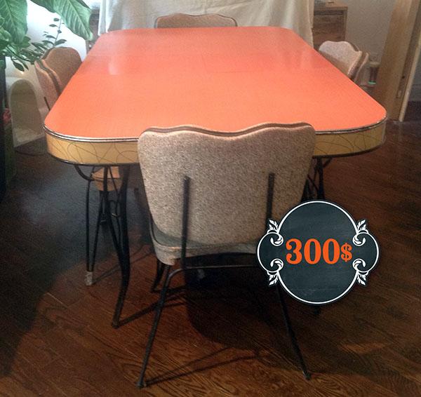 Table de cuisine rouge et ses 4 chaises vintage 1954 | Marie ...