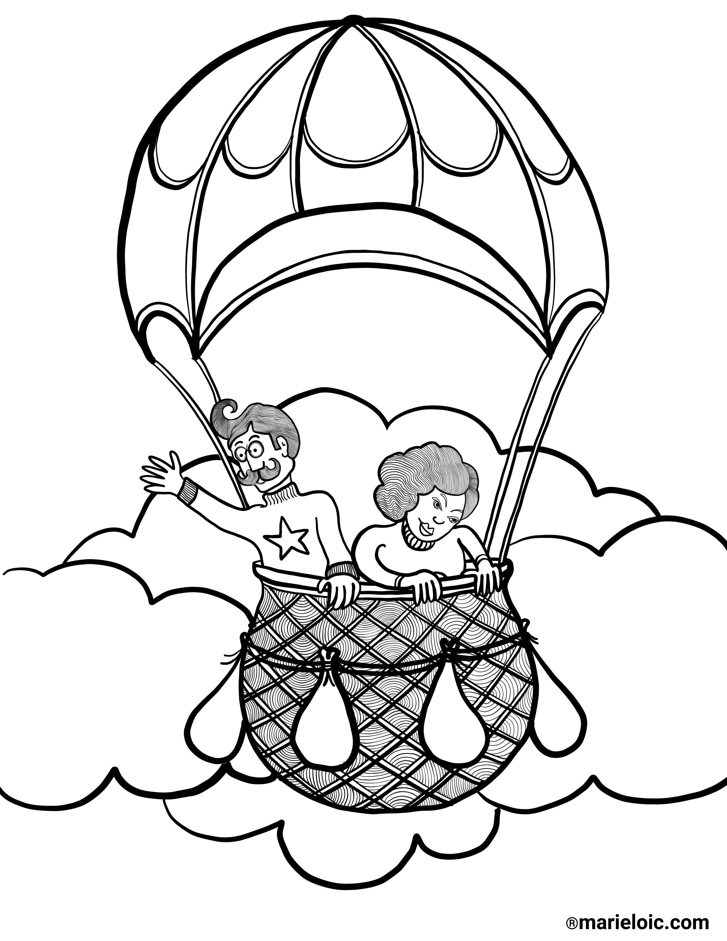 Coloriage Ballon Pdf.Dessin A Colorier Voyages En Ballon Marie Loic Senamaud